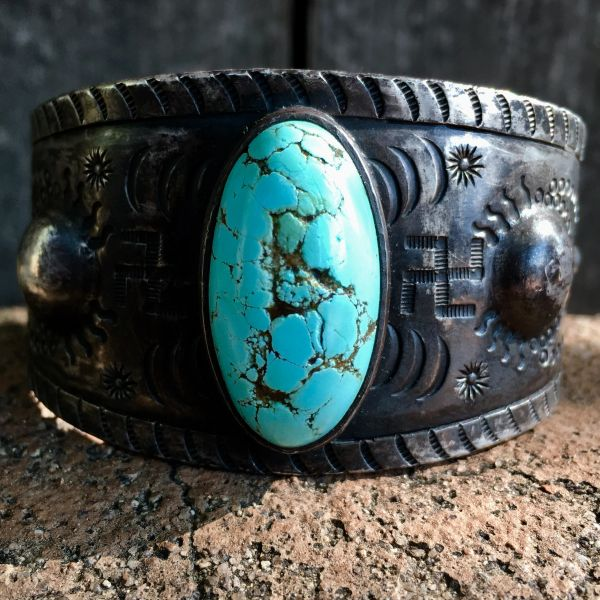 SOLD 1920s H. H. TAMMEN (also located in ABQ) REPOUSSE' WHIRLING LOG HUGE INGOT SILVER ROBIN'S EGG TURQUOISE MENS CUFF