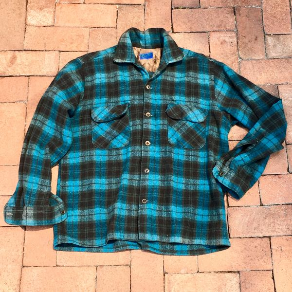 SOLD 1940s SUNFADED MERINO TURQUOISE SHADOWBOX PLAID WOOL PENDLETON SHIRT