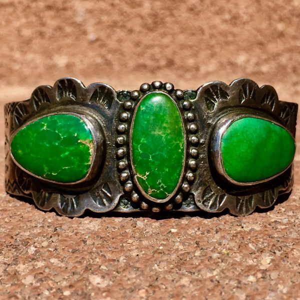 SOLD 1920s 3 BIG CERILLOS TURQUOISE STONES BUSY STAMPED SILVER CUFF