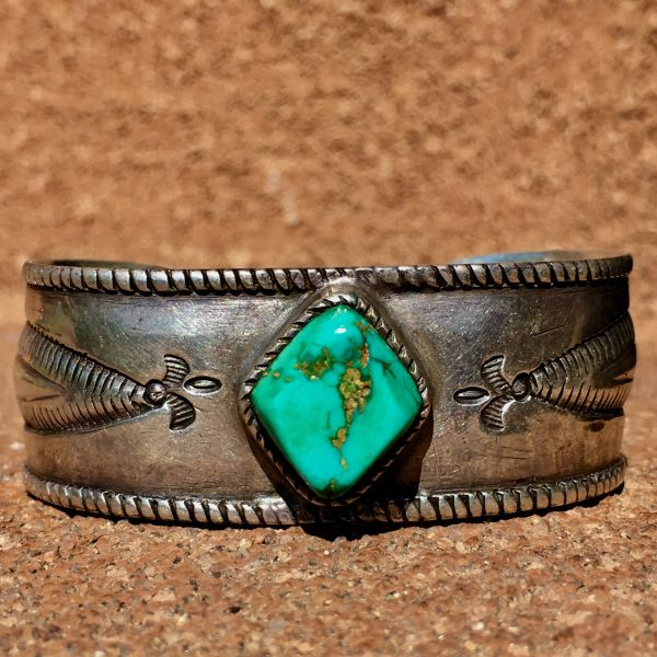 SOLD 1900s LYNN TRUSDELL'S COLLECTION INGOT SILVER CHISELED REPOUSSE TURQUOISE CUFF PUBLISHED IN BOOKS