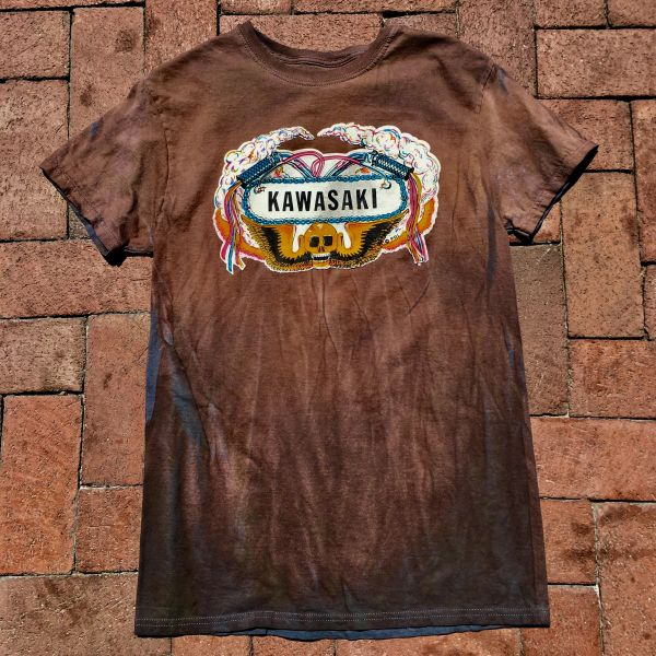 1970s KAWASAKI DARK AGED BUT NEW COTTON TSHIRT