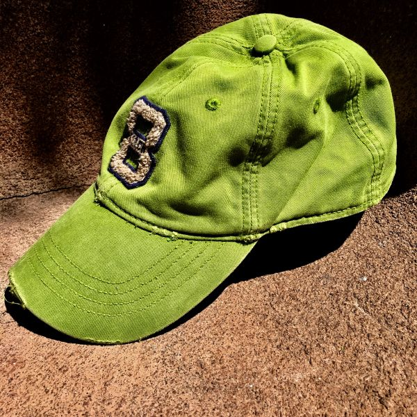 SOLD ABERCROMBIE THICK TWILL BASEBALL CAP GRASS GREEN CHENILLE 8 EMBROIDERED BACK