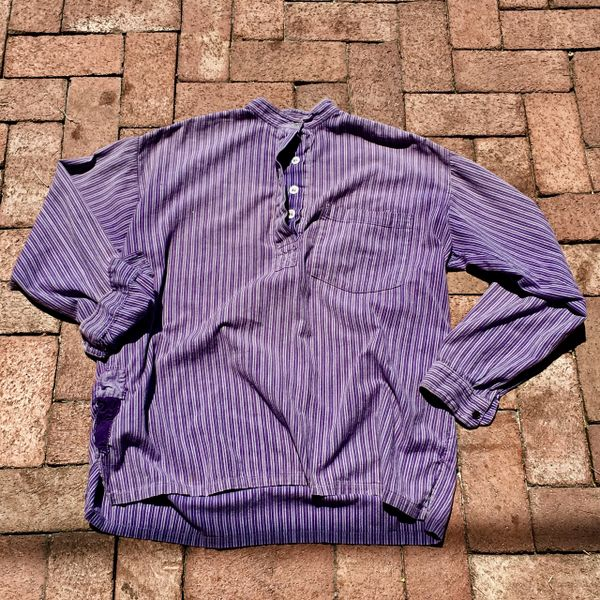 SOLD 1920s SUNFADED FRENCH PURPLE STRIPED BANDED COLLAR PATCHED UP SHIRT