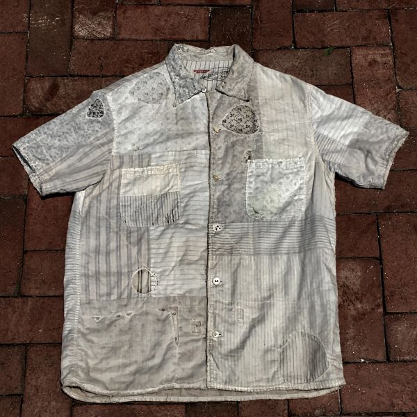 SOLD KAPITAL KOUNTRY SOLD ANTIQUE FABRIC BORO SHORT SLEEVED SHIRT