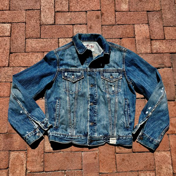 SOLD ABERCROMBIE DISTRESSED FADED DENIM JACKET LARGE