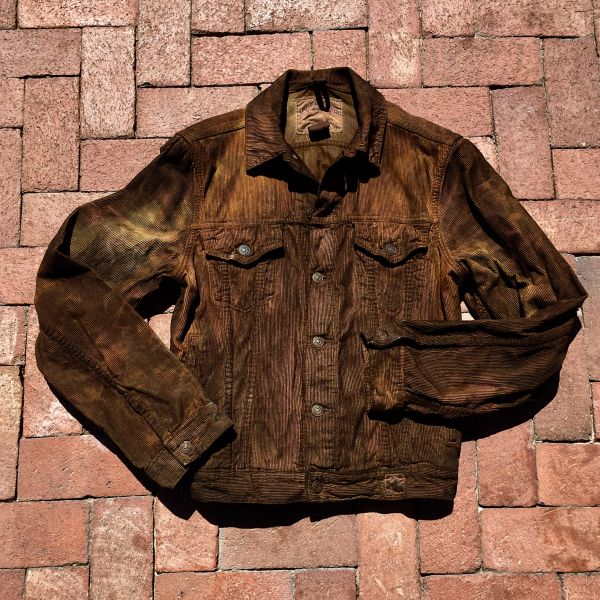 SOLD ABERCROMBIE DISTRESSED AGED COFFEE COLD WEATHER CORDUROY JACKET LARGE