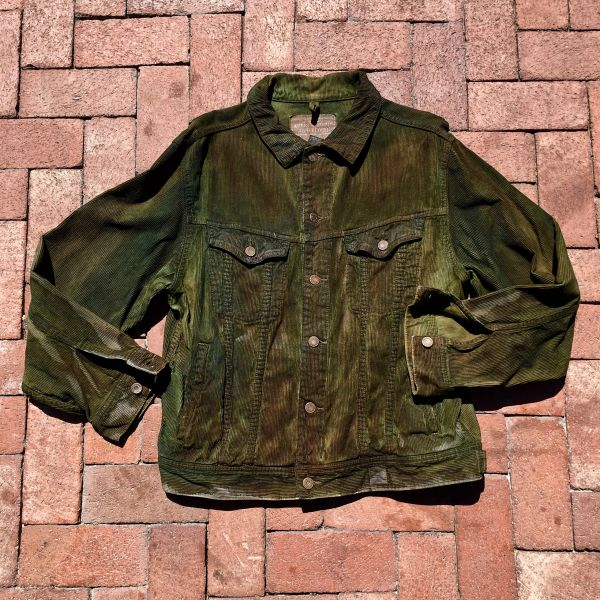 LEVIS DISTRESSED AGED CAMOUFLAGE CORDUROY COLD WEATHER JACKET LARGE
