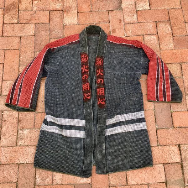 SOLD 1940s #2 LIGHT & SOFT COTTON SHASHIKO JAPANESE FIREMAN's KIMONO