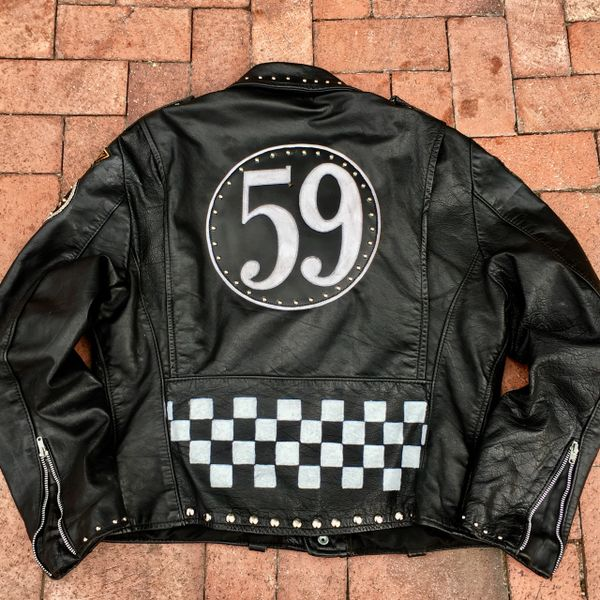 AGED BIKER GANG BRITISH THE 59 RACER FLAG PUNK ROCK STUDDED PATCHED LEATHER JACKET