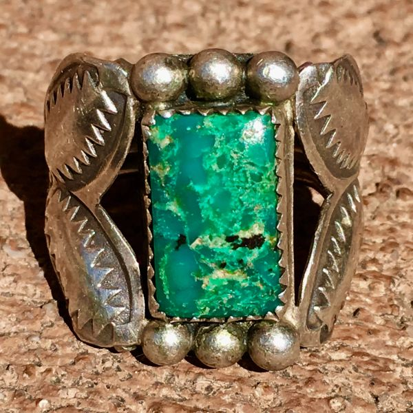 SOLD 1920s REPOUSSE' STAMPED RECTANGLE TURQUOISE OR CHRYSOCOLLA INGOT SILVER RING