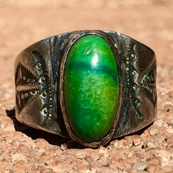 SOLD 1910s CERILLOS TURQUOSIE IMGOT SILVER EARLY STAMPED CIGAR BAND RING