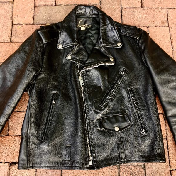1980s HEAVY BLACK LEATHER D POCKET BIKER JACKET