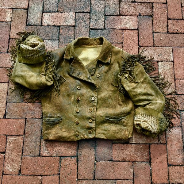 EARLY 1900s BRAIN TANNED FRINGED DEERSKIN DOUBLE BREASTED ELK HORN BUTTON COWBOY JACKET