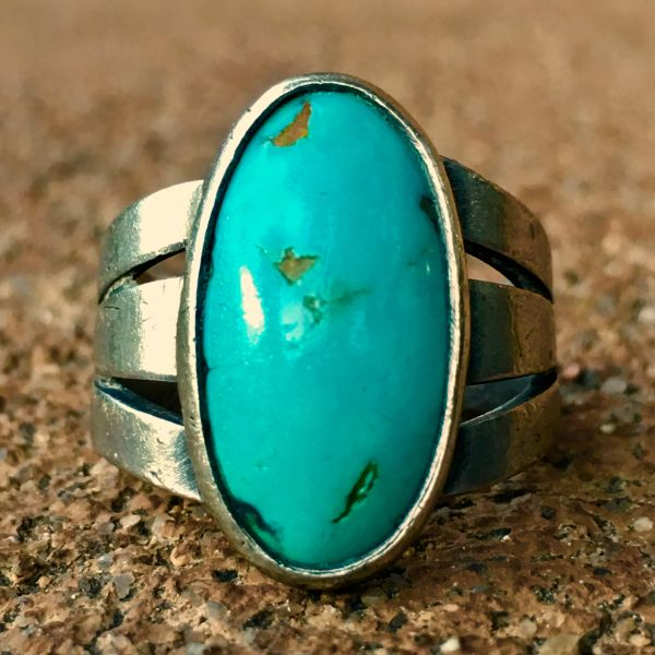 SOLD 1920s LIGHT BLUE TURQUOISE SPLIT SHAMK INGOT SILVER PINKY RING