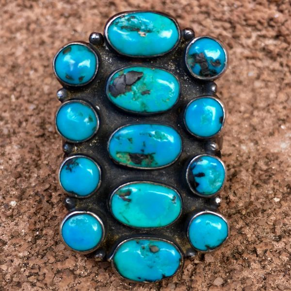 SOLD 1930s BLUE GEM TURQUOISE 13 STONE SPLIT SHANK INGOT RING