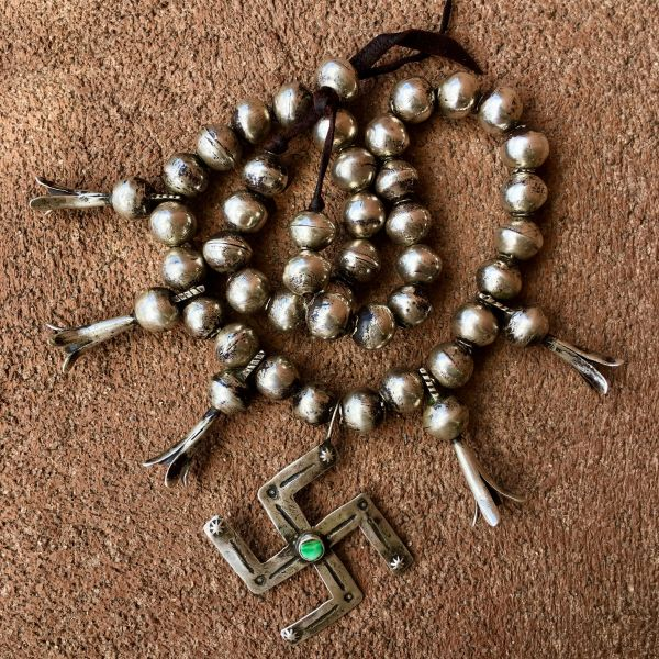 SOLD 1920s HEAVY SQUASH BLOSSOM LIBERTY DIME WHIRLING LOG SILVER NECKLACE