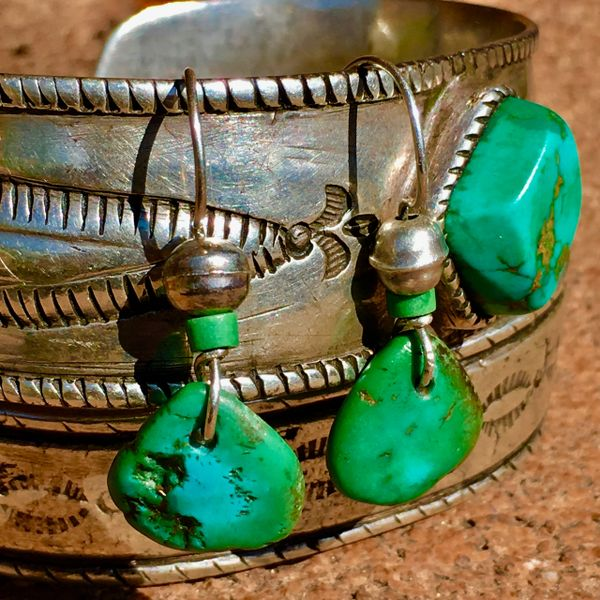 SOLD 1800s OR EARLIER TURQUOISE TABS, 1920s HEISHI, BENCH BEADS EARRINGS