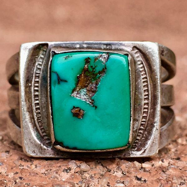 SOLD 1920s SMALL SQUARE BLUE TURQUOISE SILVER INGOT STAMPED RING
