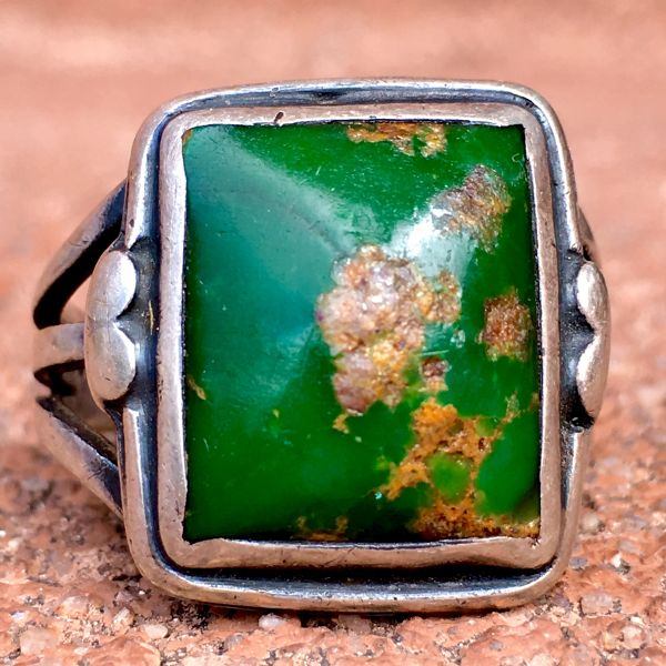 SOLD 1920s INGOT SILVER DEEP GREEN TURQUOISE SQUARE RING