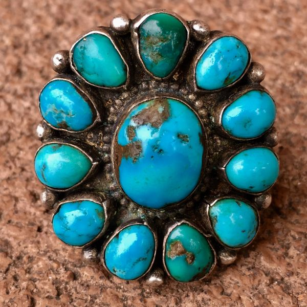 SOLD 1930s VIVID BLUE DOMED TURQUOISE 12 STONE INGOT SILVER RING