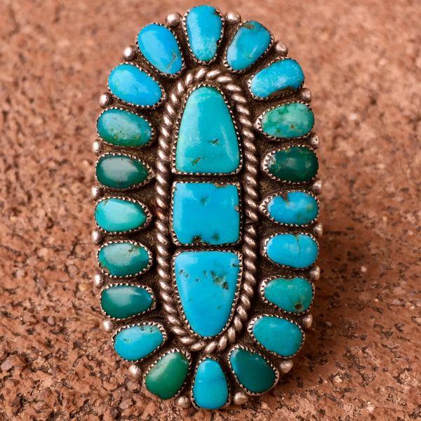 SOLD 1950s SPECTAULAR FINGER LONG BLUE & GREEN
