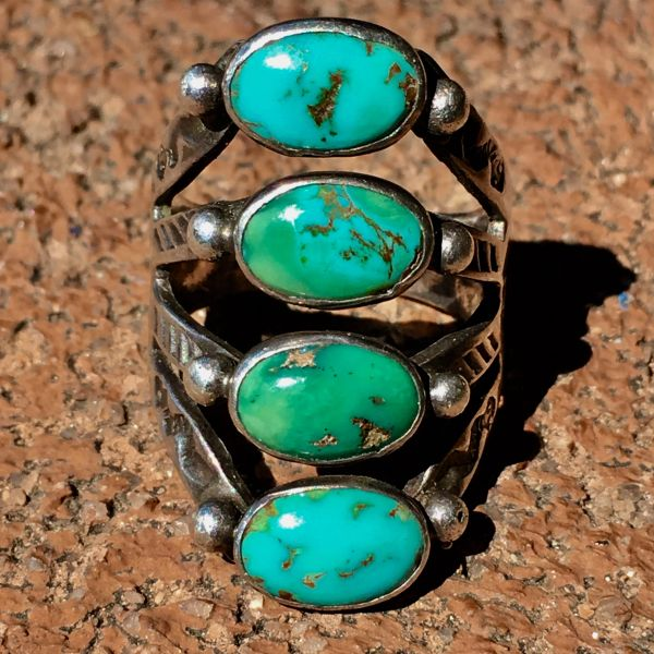 SOLD 1920s SNAKE & FLOWER STAMPED SILVER 4 BLUE GREEN TURQUOISE STONE RING
