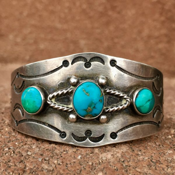 1930s SILVER STAMPED 3 MOSTLY BLUE TURQUOISE STONE CUFF