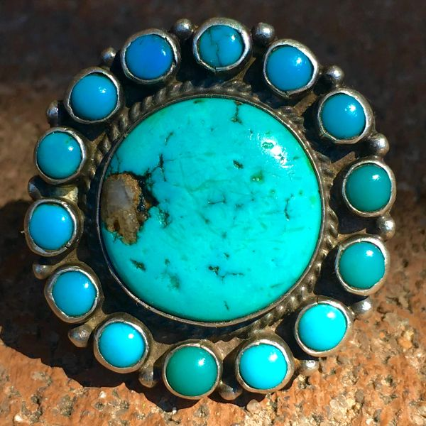 1930s JUMBO INGOT SILVER 15 ROUND BLUE STONE BLUE TURQUOISE RING