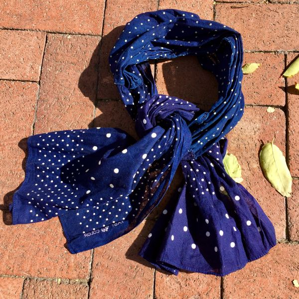 SOLD 1920s INDIGO PLOKA DOT FABRIC WITH 1940s ELEPHANT TRUNK UP BANDANNAS ALL HANDSEWN
