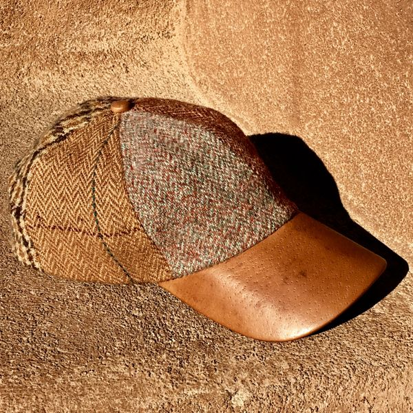 SOLD VINTAGE WOOL TWEED & LEATHER BASEBALL CAP