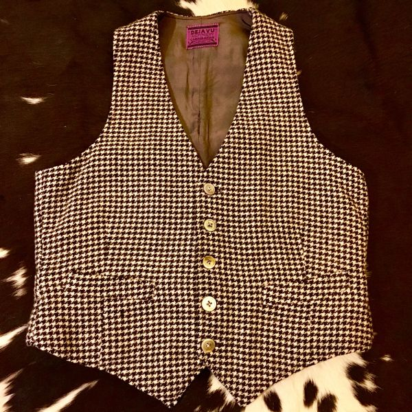 SOLD 1920s BLACK & WHITE WOOL HOUNDSTOOTH MENS WINTER VEST