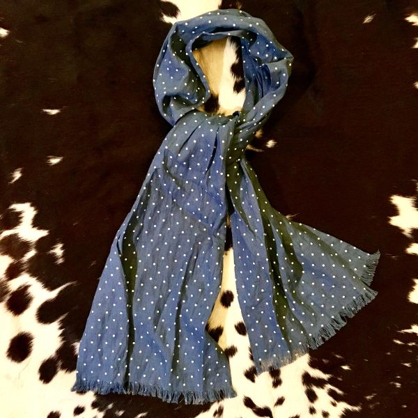 SOLD 100% EUROPEAN LINEN POLKA DOT LIGHT BLUE LONG THIN SCARF
