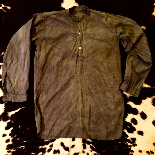 SOLD 1890s AMERICAN OR EUROPEAN SMOCK SHIRT THIN FADED BLACK