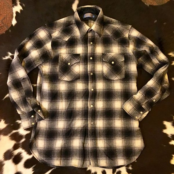 SOLD 1990s SHADOWBOX PLAID WOOL PENDLETON PEARLSNAP WESTERN SHIRT