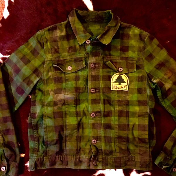 JAPANESE POSSIBLY FORESTRY SERVICE THIN BUFFALO PLAID GREEN & BLACK FADED 100% COTTON SHIRT JACKET