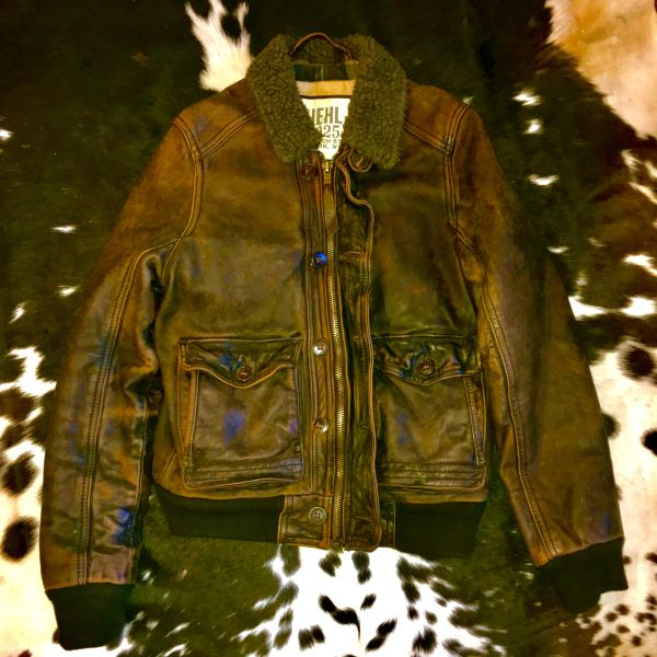 SOLD EXTINCT BRAND RUEHL 925 (A&F) COTTON PLAID LINED LEATHER BOMBER JACKET WITH CARGO POCKETS