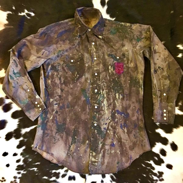 SOLD DISTRESSED, PAINTED & STAINED STRIPED DENIM PEARL SNAP WESTERN SHIRT WITH COLORADO PATCH