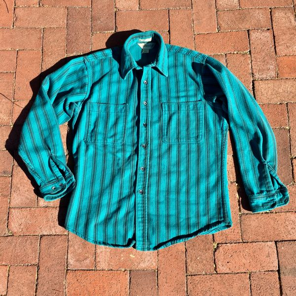 SOLD 1980s VIVID HEAVYWEIGHT COTTON TURQUOISE & BLACK STRIPED BIG MAC RUGGED FLANNEL SHIRT