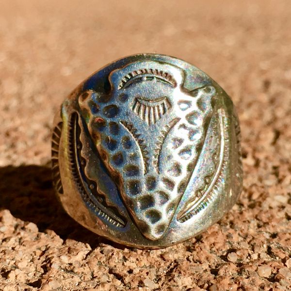 SOLD 1940s ARROWHEAD STAMPED SILVER CIGAR BAND RING