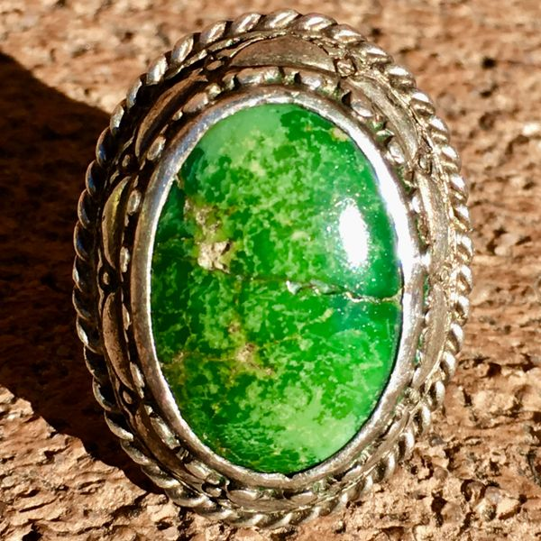 SOLD 1930s NEW MEXICO ZIA SUN & THUNDERBIRD TALL OVAL GREEN TURQUOISE & SILVER RING