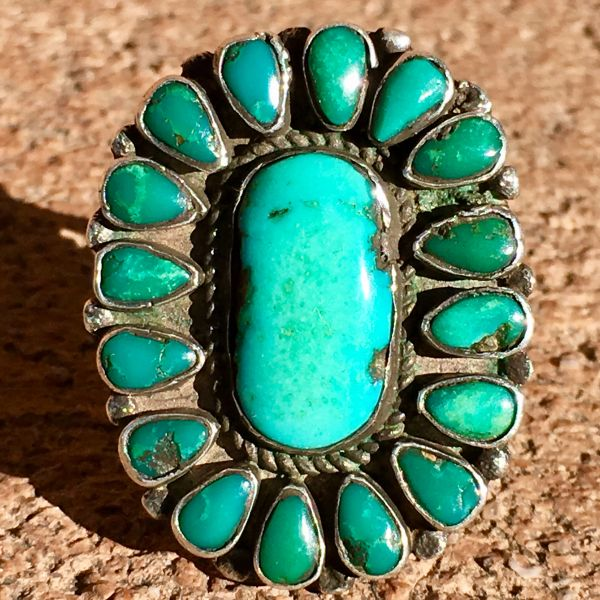 SOLD 1920s 17 TURQUOISE STONES INGOT SILVER RING