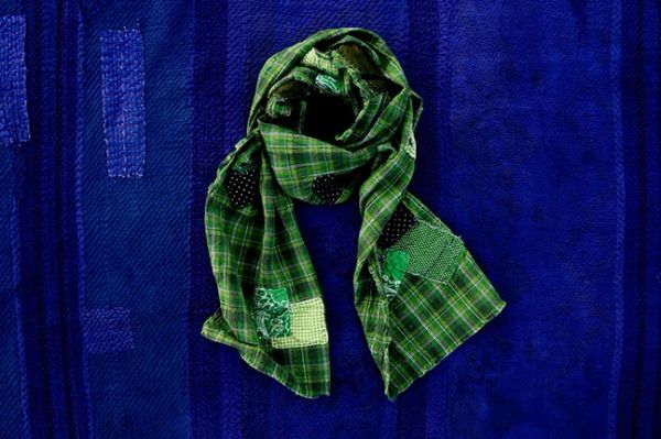SOLD PATCHWORK BORO GREEN PLAID SCARF