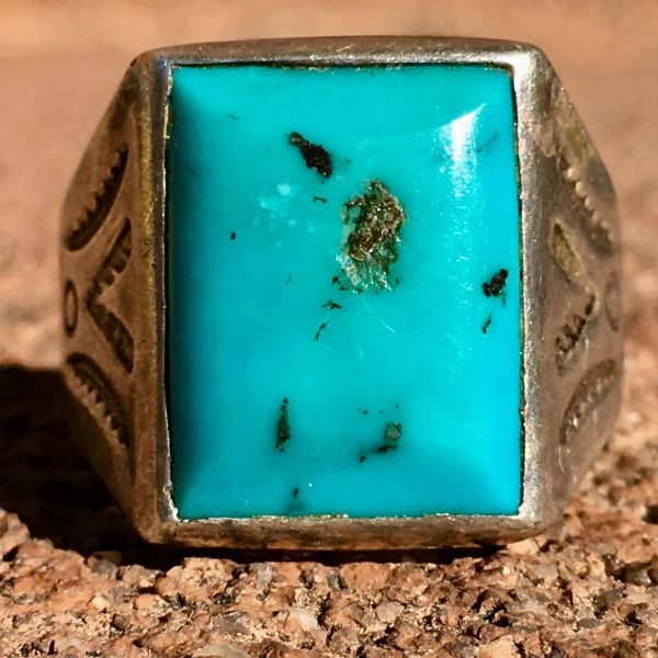 SOLD 1950s BEVELED LIGHT BLUE TURQUOISE SIDE STAMPED SQUARE SILVER RING