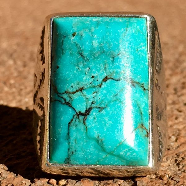 SOLD 1950s BEVELED LIGHT BLUE MORENCI TURQUOISE DOUBLE LONG SIDE STAMPED RECTANGLE SILVER RING