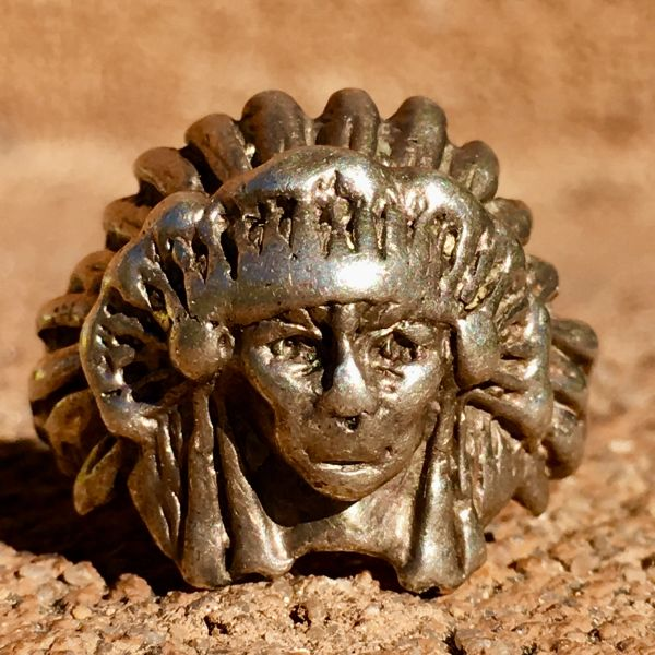 SOLD 1930s INDIAN CHIEF HEAD FEATHER HEADDRESS SILVER RING