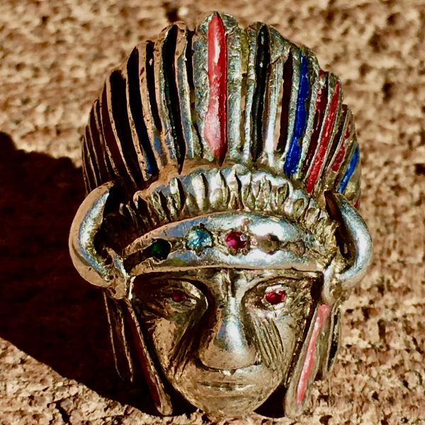 SOLD 1960s EXCEPTIONALLY RARE EASY RIDER ERA BUFFALO HORNS INDIAN CHIEF HEAD & HEADDRESS OF A MEDICINE MAN PAINTED & BEDAZZLED STERLING SILVER MEXICAN BIKER RING