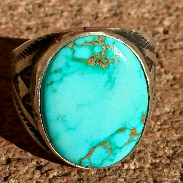 SOLD 1950s SKY BLUE OVAL TURQUOISE SILVER SIDE STAMPED CIGAR BAND RING