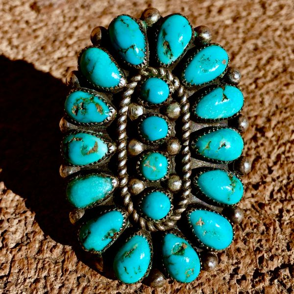 SOLD 1950s VIVID DEEP BLUE 18 STONE TURQUOISE GINORMOUS SILVER FINGER LONG RING