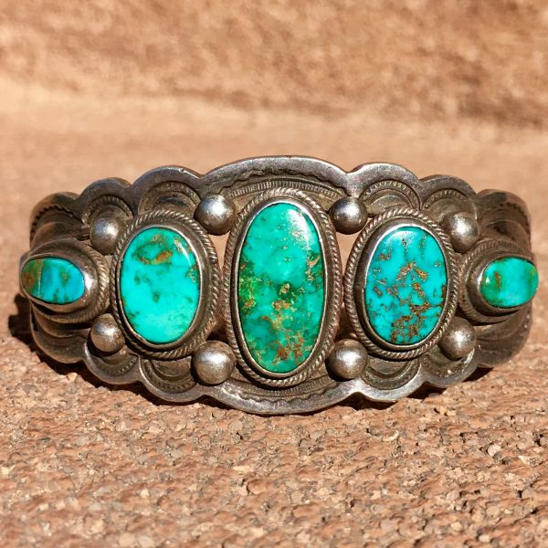 SOLD 1920s BLUE & GREEN OVAL 5 TURQUOISE STONES WIDE STAMPED SPLIT SHANK HEAVY SILVER CUFF BRACELET