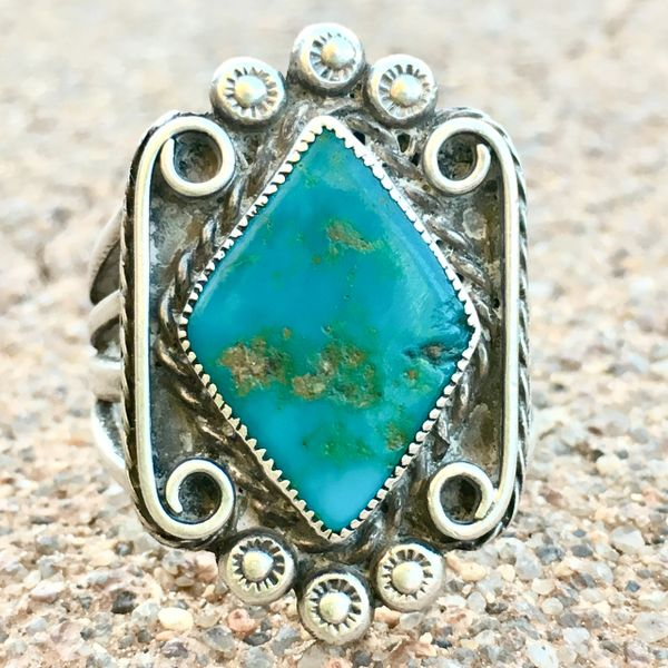 SOLD 1920s BLUE GEM DIAMOND TURQUOISE STONE PEYOTE BUTTON STAMPED THICK INGOT SILVER RING
